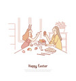 mother with daughter painting pysanka girl vector image vector image