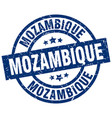 mozambique blue round grunge stamp vector image vector image