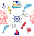 nautical seamless pattern with sailing vessels vector image vector image