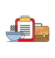 office clipboard business briefcase and coffee cup vector image vector image