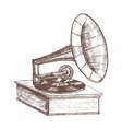 Old Gramophone Hand Draw Sketch vector image