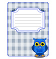 Owl gingham cover- blue and grey vector image vector image