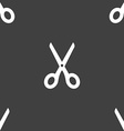 Scissors icon sign Seamless pattern on a gray vector image vector image