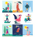 seasonal woman different weather outdoor vector image