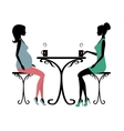 Silhouette of two fashionable women vector image vector image