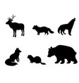 silhouettes of animals of tundra vector image