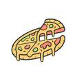 sliced pizza color icon pizzeria pizza house vector image