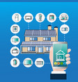 smart home control system hand hold smartphone vector image vector image