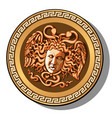 the engraved head of medusa gorgon head isolated vector image