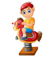 the happy child on a toy horse vector image vector image