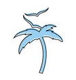 tree palm beach with gulls vector image vector image