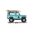 vintage hand drawn surf car retro transportation vector image vector image