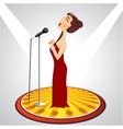 cartoon female singer with microphone vector image