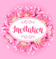 invitation with sakura or cherry blossom floral vector image