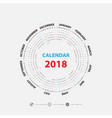 2018 calendar templatecalendar for 2018 vector image