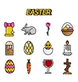 Easter flat styled icons set over white vector image