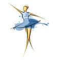 abstract drawing a girl in blue dress artwork vector image