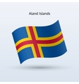Aland Islands flag waving form vector image vector image