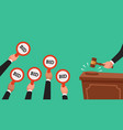 auctioneer hold gavel in hand buyers raising arm vector image vector image