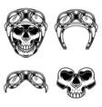 biker skull in racer helmet for logo label sign vector image vector image