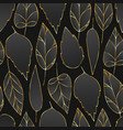 black and gold seamless pattern with leaves vector image