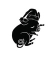 black and white piggy with a santa hat sleeping vector image vector image