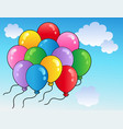 blue sky with cartoon balloons 2 vector image vector image
