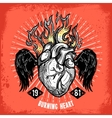 Burning Heart Tattoo Poster vector image