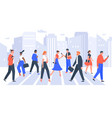 business people cross road people in city vector image