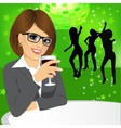 business woman drinking wine vector image vector image