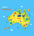 cartoon color australia discover concept travel vector image vector image