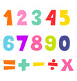 cartoon flat kids number figures math signs vector image