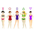 cartoon woman body shape different types set vector image