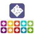 cheese fresh block icons set flat vector image