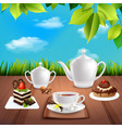 chocolate desserts realistic composition vector image