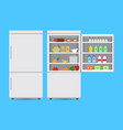 closed and opened refrigerator with food vector image