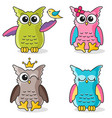 colorful funny owls icons isolated on white vector image