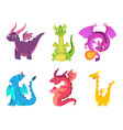 cute dragons fairytale amphibians and reptiles vector image vector image