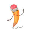 Cute embarrassed cartoon humanized pencil vector image