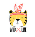 cute wild slogan and tiger vector image vector image