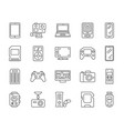 device simple black line icons set vector image vector image