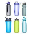 fitness bottles plastic bottles for water running vector image
