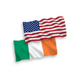 flags of ireland and america on a white background vector image vector image