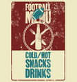 football menu typographic vintage grunge poster vector image vector image