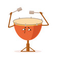 funny drum percussion musical instrument cartoon vector image
