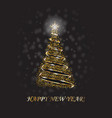 gold christmas tree as symbol of happy new year vector image