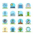 Green energy color line icons vector image vector image