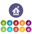 green house icons set color vector image vector image