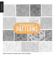 hand drawn black and white 15 patterns set vector image vector image