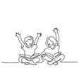 happy kids reading open books sitting on floor vector image
